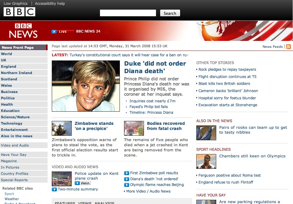 Screenshot of new look BBC News website