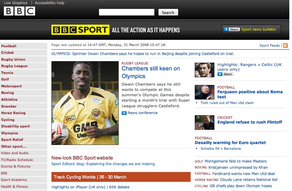 Screenshot of new look BBC Sport website