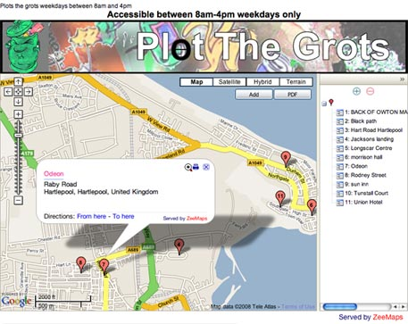 Hartlepool Mail's Plot the Grots campaign map