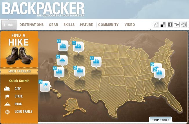 Screenshot of the Backpacker website