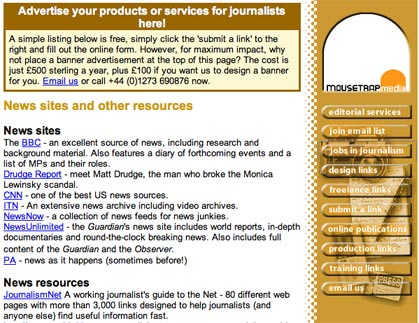 Screen grab of Journalism.co.uk in 1999