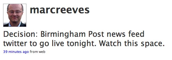 Twitter page from Birmingham Post editor Marc Reeves
