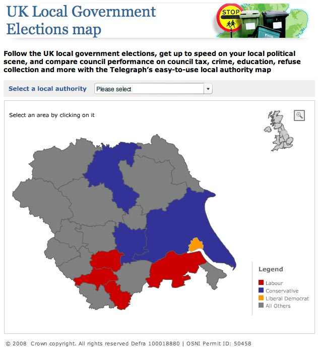 Telegraph.co.uk map of local government election information