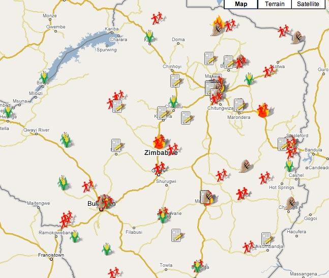 Map of conditions affecting the Zimbabwe elections from Sowanele.com