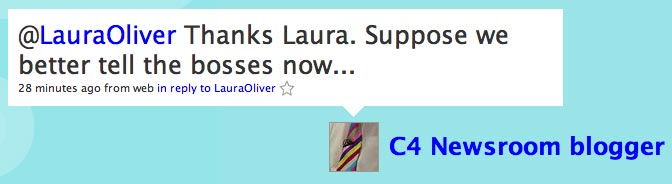 Screenshot of Twitter response from @channel4news to @lauraoliver