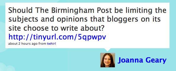 Screenshot of Joanna Geary's Twitter posting