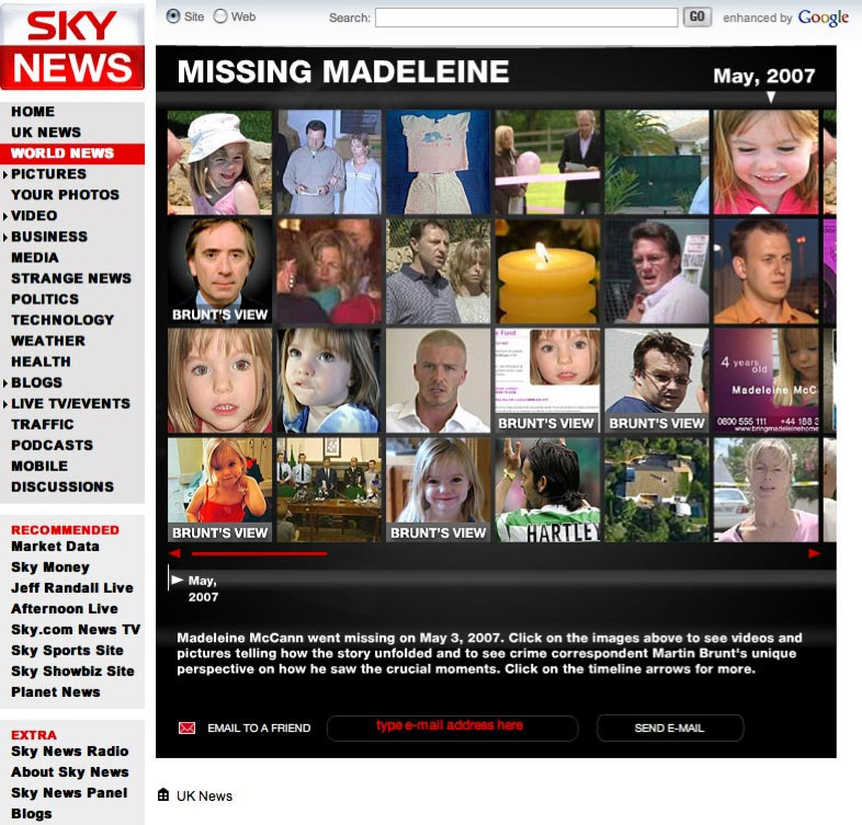Screenshot of Sky News' multimedia timeline of Madelein McCann's disappearance