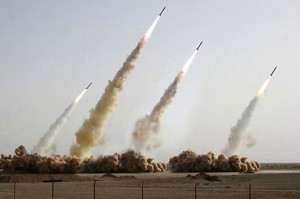 Digitally altered image of Iranian missile tests from Agence France-Presse