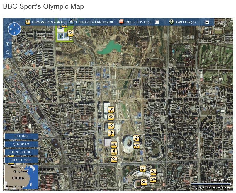 Screenshot of BBC Sport\'s Beijing Olympics map