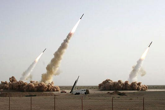 An Associated Press image of Iranian missile testing