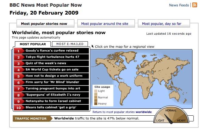 Screenshot of BBC live traffic map