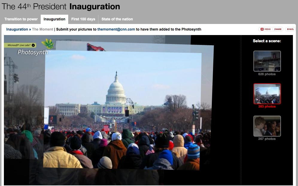 Screenshot of CNN's inauguration website