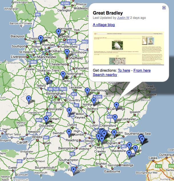 Google map of independent local news sites in the UK