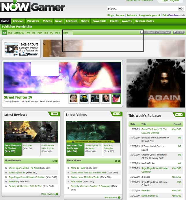 NowGamer.com homepage