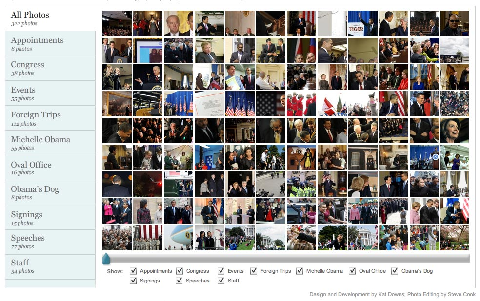 Screenshot of Washington Post's 100 days photo site