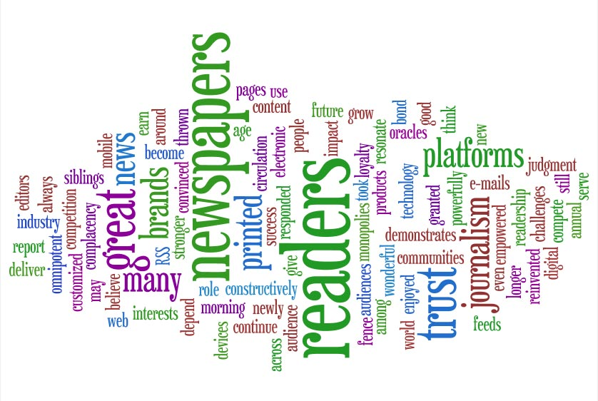 Wordle of Rupert Murdoch's comments in the World Association of Newspapers' annual survey
