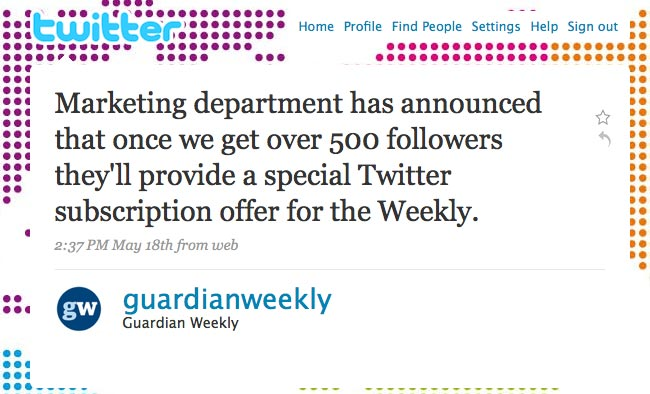 Guardian Weekly Twitter update
