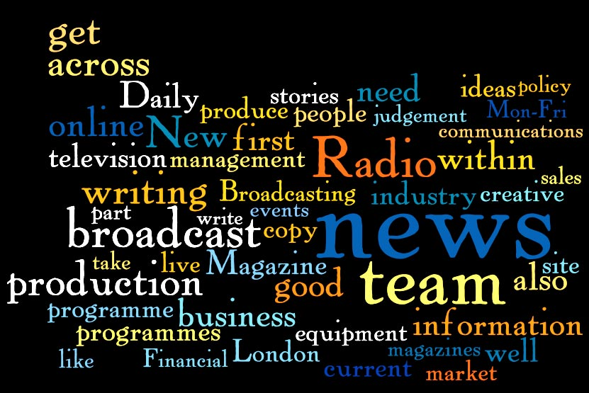 Wordle produced by Murray Dick of journalism job ad terms
