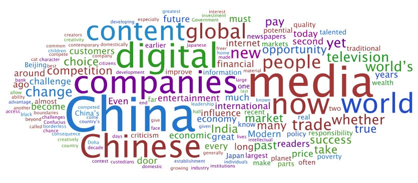 Wordle of Rupert Murdoch's speech to the Beijing World Media Summit