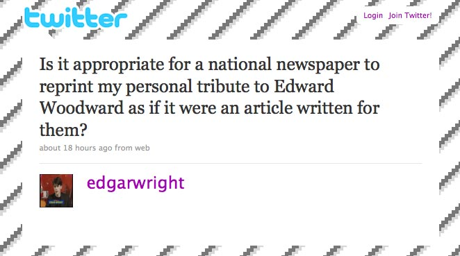 Twitter update from @edgarwright