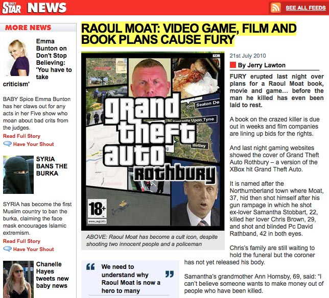 Gaming Info Sites: Daily Star Pulls Raoul Moat Videogame Article Following