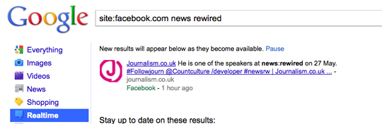 Google Facebook news:rewired search