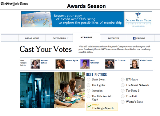 New York Times awards season