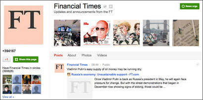 Searchmetrics: Financial Times is news outlet with most Google+